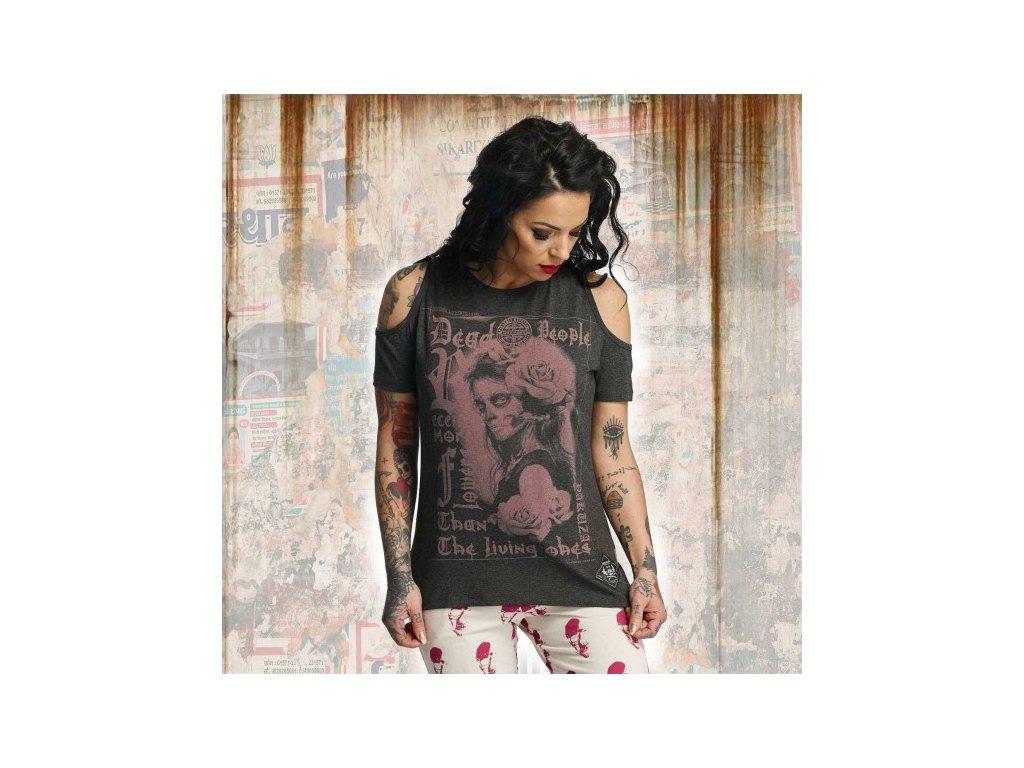 Yakuza MORE FLOWERS dámske tričko GSB 11130dark grey melange