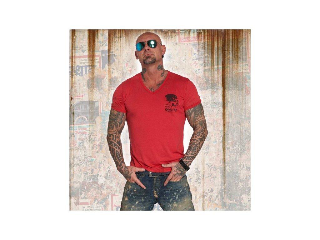 Yakuza tričko pánske BURNOUT V NECK TSB 12059 ribbon red