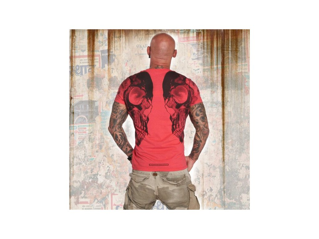 Yakuza tričko pánske SKULL V 02 V NECK TSB 12061 geranium