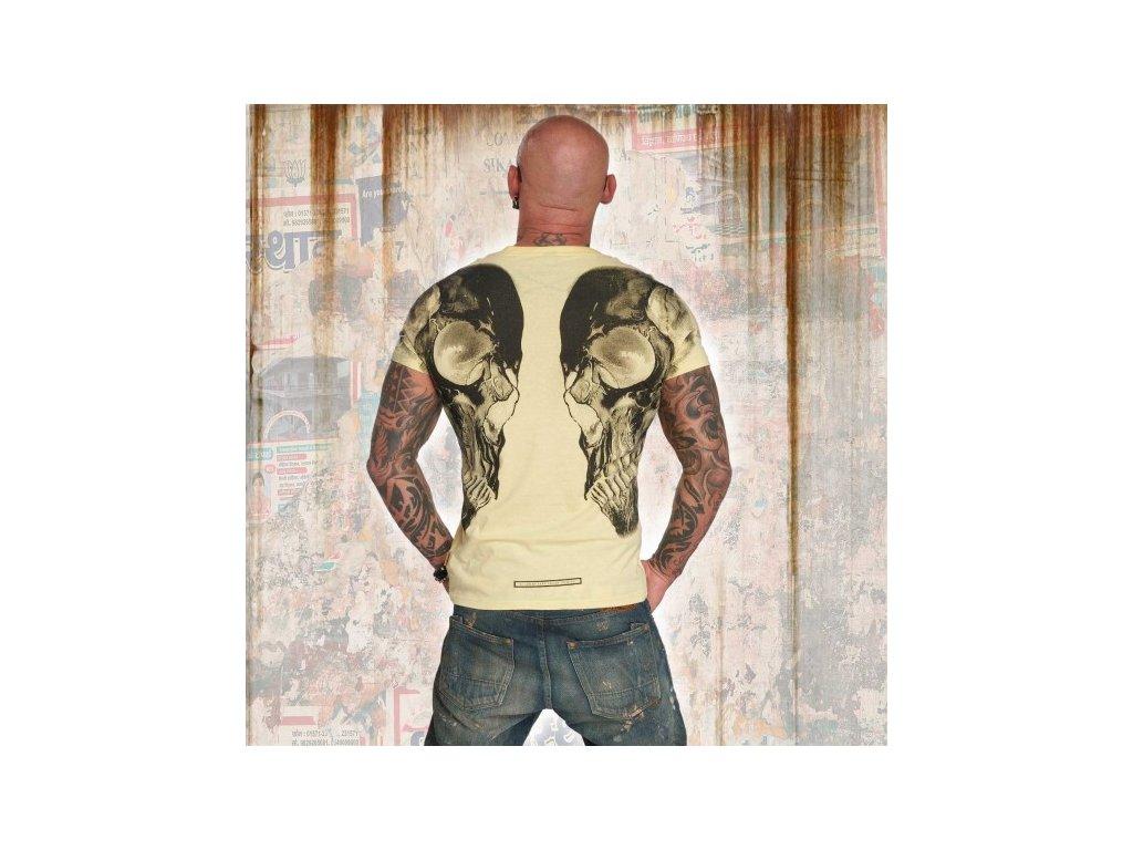-Yakuza tričko pánske SKULL V 02 V NECK TSB 12061 pale banana