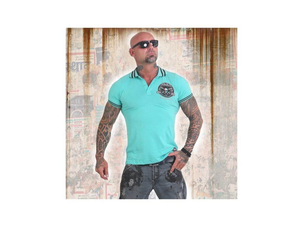 Yakuza polo tričko PRETTY FAR TPO 12023 turquoise