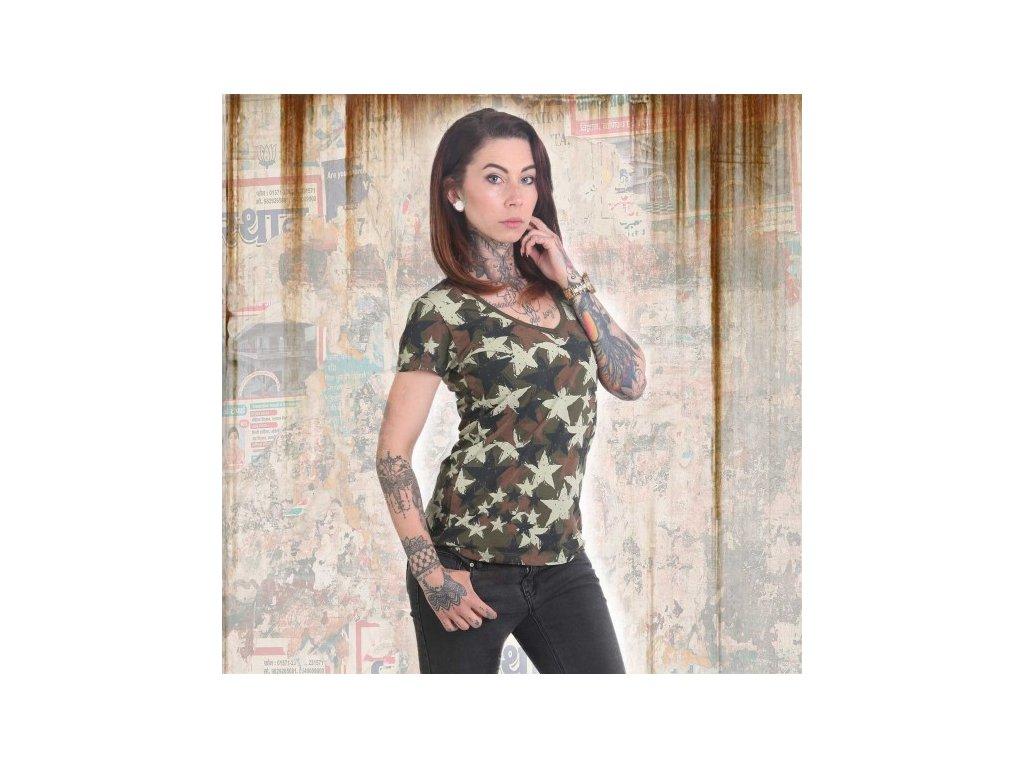 Yakuza STARS V NECK dámske tričko GSB 12151 camouflage