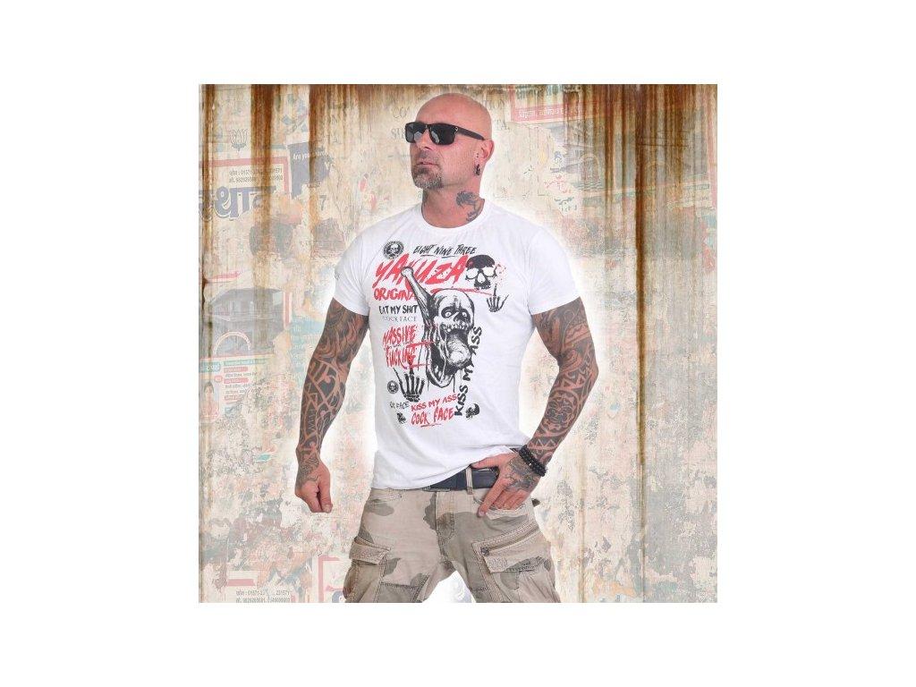 Yakuza tričko pánske COCK FACE TSB 12002 white