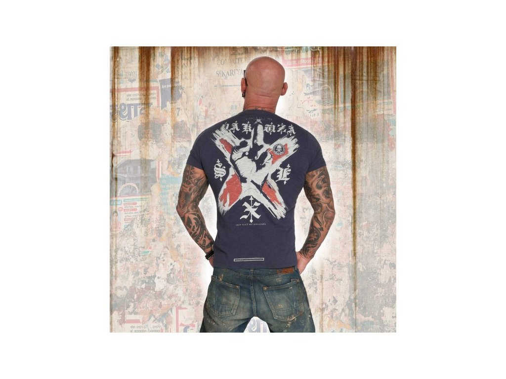 Yakuza tričko pánske WORLD PEACE TSB 12011 mood indigo moon