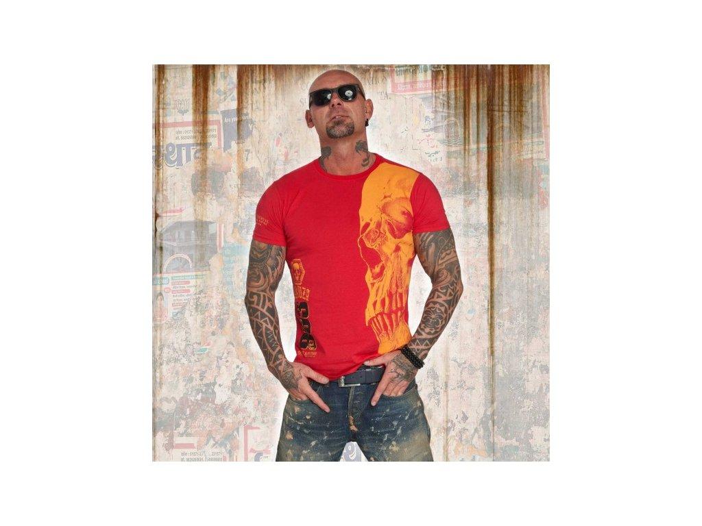 Yakuza tričko pánske SKULL TSB 12015 ribbon red