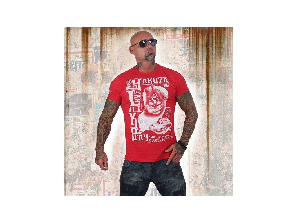Yakuza tričko pánske LOVE KILL PRAY TSB 12003 ribbon red