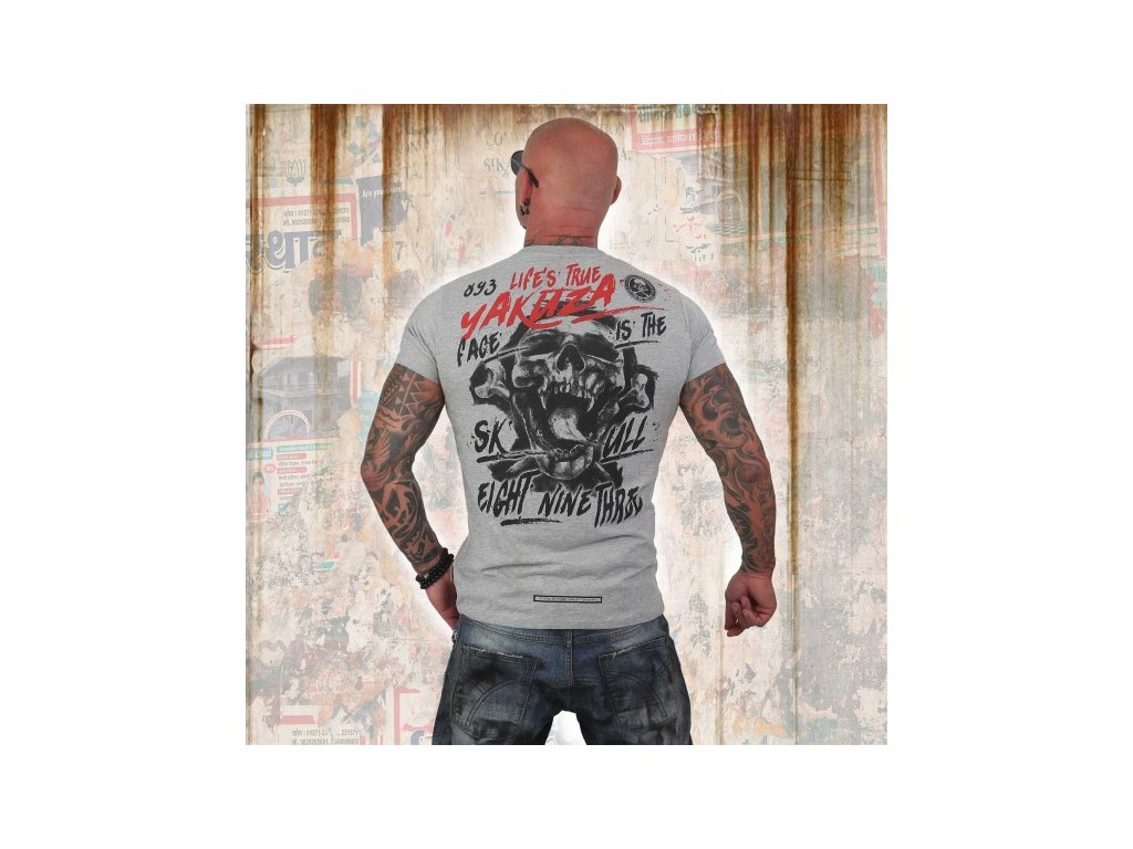 Yakuza tričko pánske TRUE LIFE TSB 12004 light grey melange
