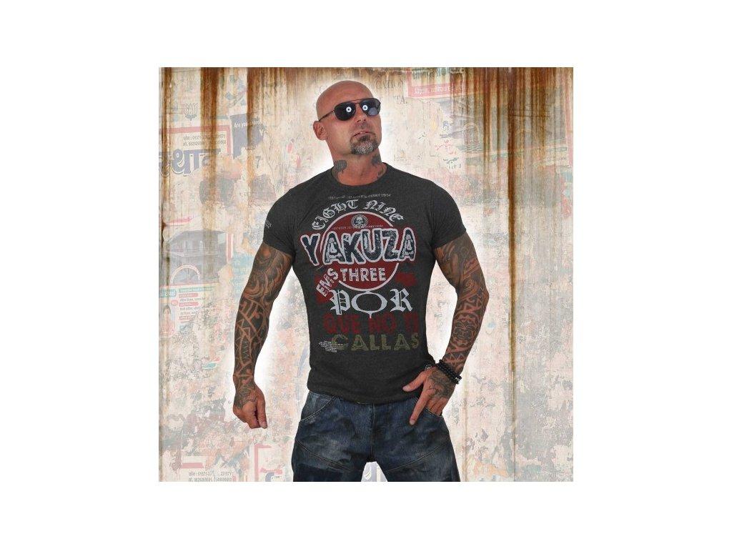 Yakuza tričko pánske POR QUE NO TSB 12010 dark grey melange