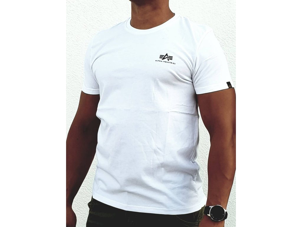Alpha Industries Basic T Small logo White tričko pánske