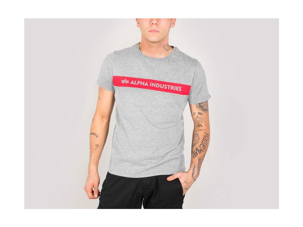 Alpha Industries Red Stripe T grey tričko pánske
