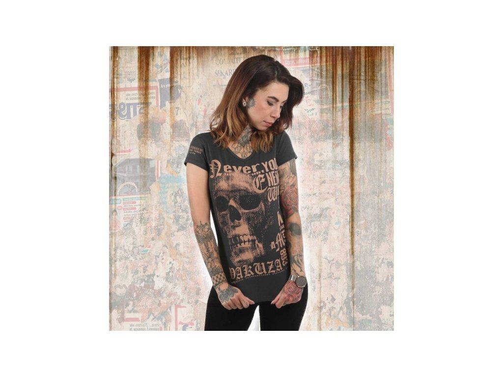 Yakuza DIAMONT SKULL V NECK dámske tričko GSB 12114 ebony