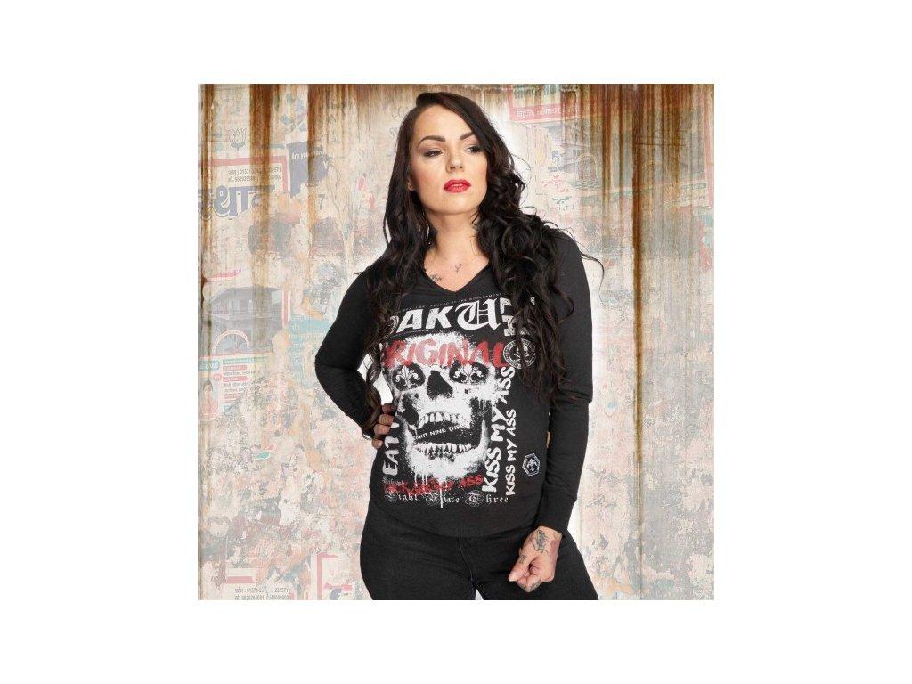 Yakuza SKULL dámske tričko s dlhým rukávom GLSB 12121 black