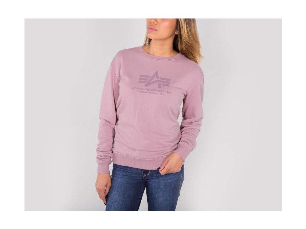 Alpha Industries dámska mikina Logo Sweater Wmn Silver pink