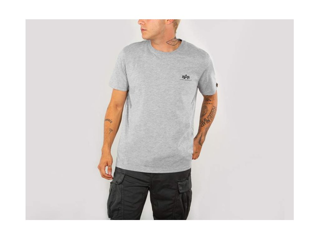 Alpha Industries Basic T Small logo Grey Mellange tričko pánske
