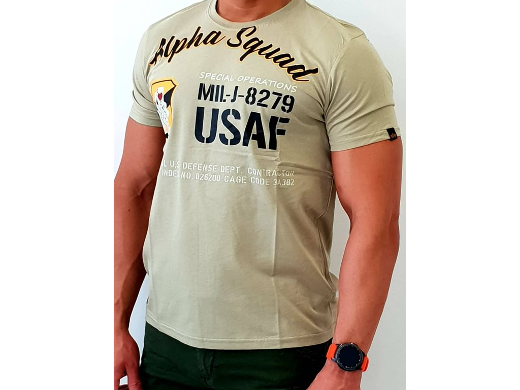 Alpha Industries Alpha Squad T light olive tričko pánske