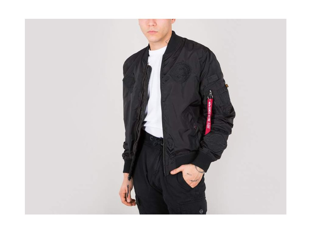 Alpha Industries MA-1 TT Patch II All  black bunda prechodná