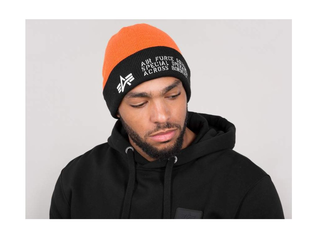 Alpha Industries Air Force Beanie čiapka flame orange