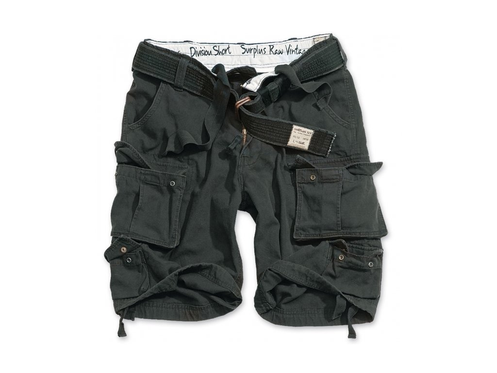 Surplus DIVISION SHORTS black washed pánske šortky