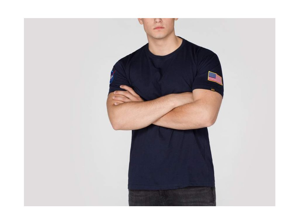 Alpha Industries NASA T Rep blue tričko pánske​​​​​​​