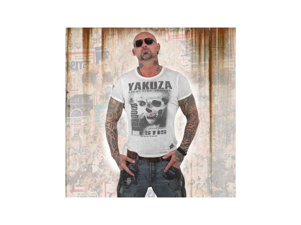 Yakuza BURNOUT QOUD SUMUS HOC ERITIS tričko pánske TSB 13049 white