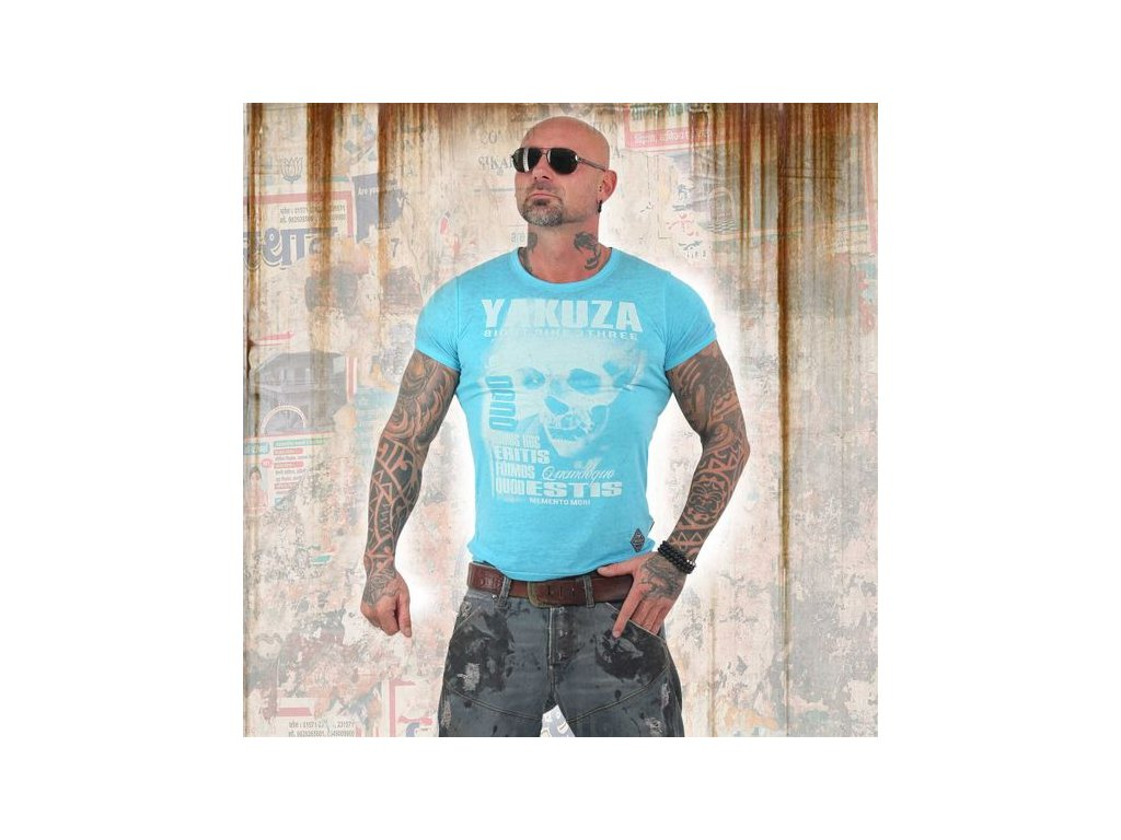 Yakuza BURNOUT QOUD SUMUS HOC ERITIS tričko pánske TSB 13049 blue atol