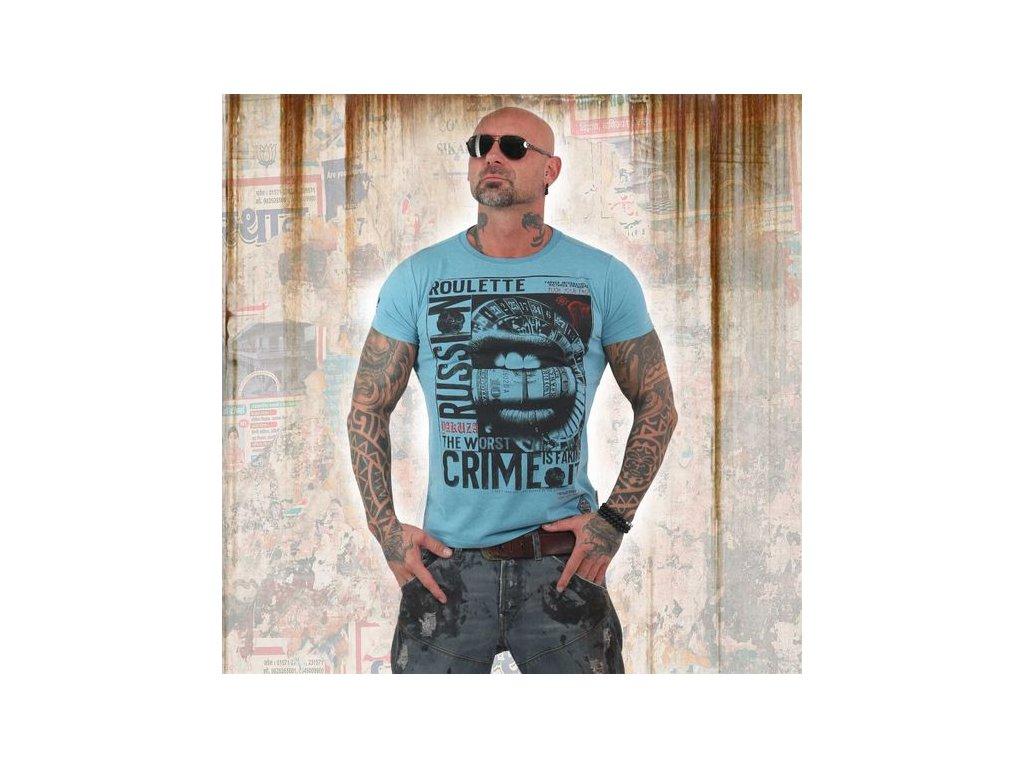 Yakuza tričko pánskeRUSSIAN ROULETTETSB 13039 light blue melange