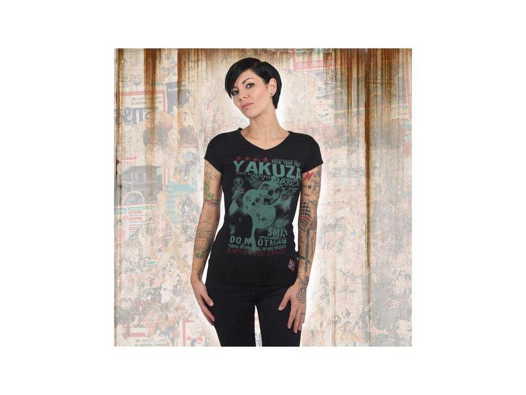 Yakuza BURRIED V NECK dámske tričko GSB 13127 black