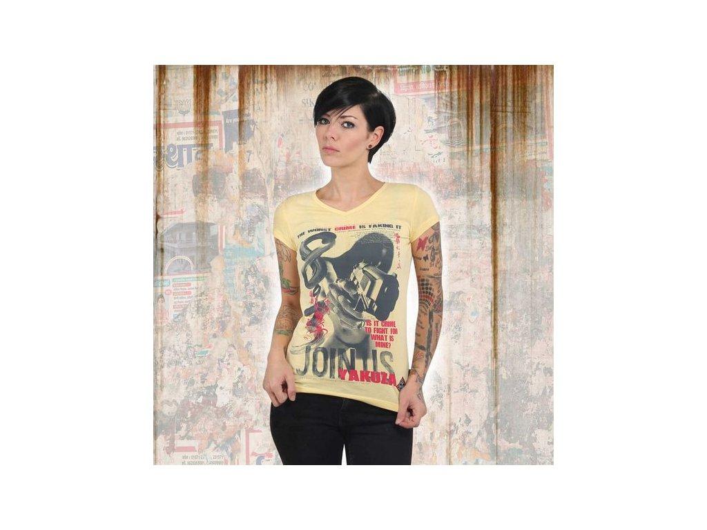 Yakuza JOIN US V NECK dámske tričko GSB 13130 pale banana