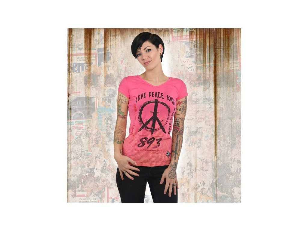 Yakuza LOVE & PEACE V NECK dámske tričko GSB 13131 camelia rose