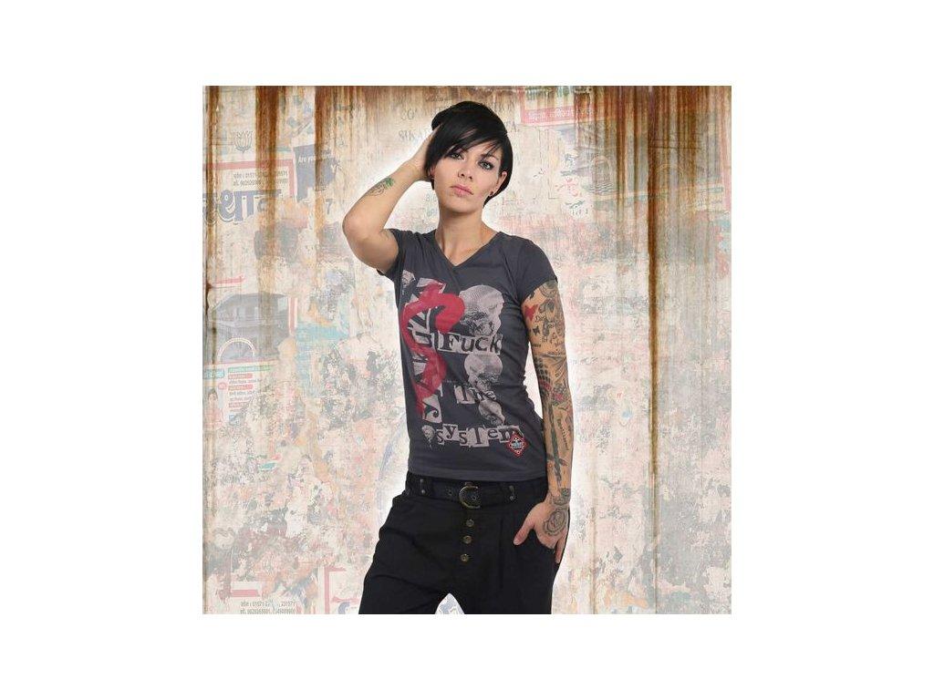 Yakuza FTS V NECK dámske tričko GSB 13132 ebony