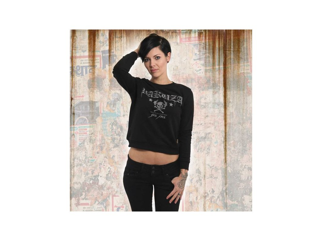 Yakuza FLYING SKULL CROPPED SWEATER dámska mikina GHOB 13109 black