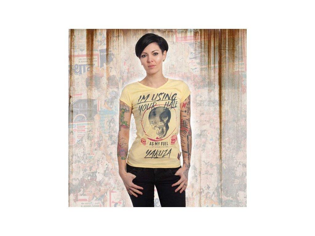 Yakuza YOUR HATE V NECK dámske tričko GSB 13129 pale banana