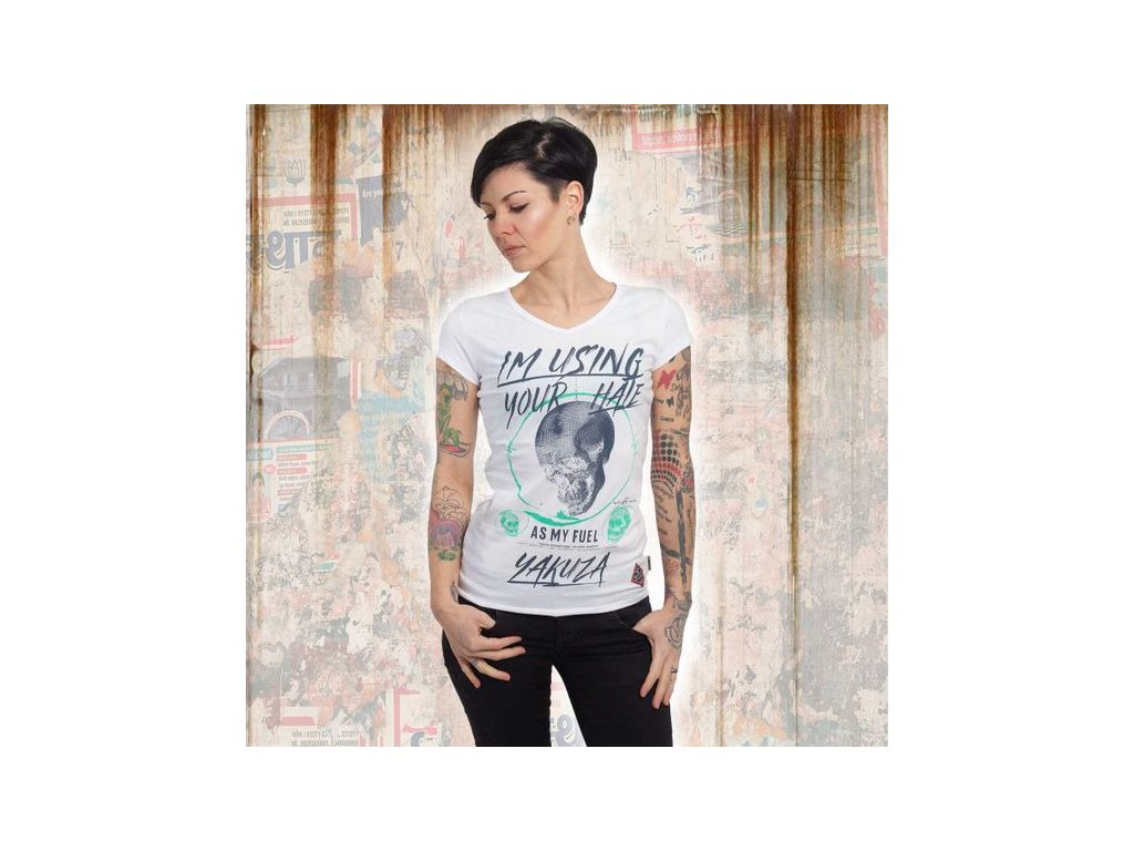 Yakuza YOUR HATE V NECK dámske tričko GSB 13129 white