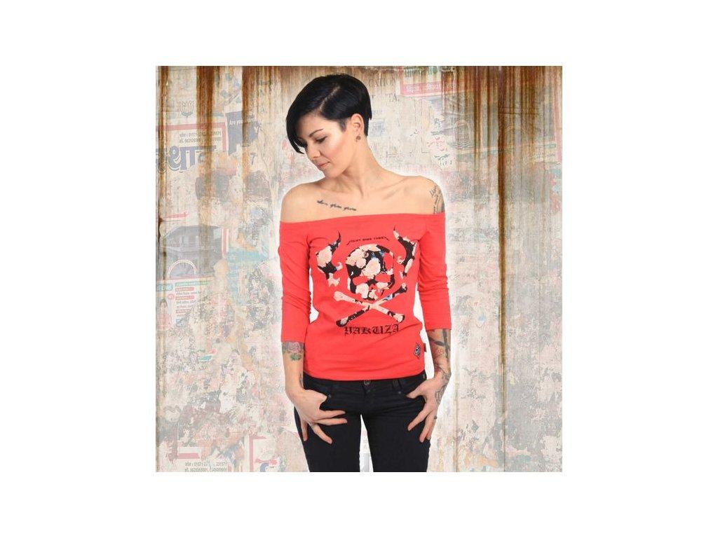 Yakuza FLYING SKULL OFF SHOULDER dámske tričko s dlhým rukávom GLSB 13139 geranium