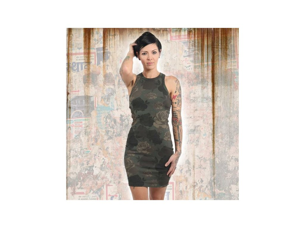 Yakuza dámske šaty FIVE STARMIDI KLEID GKB 13157 camouflage
