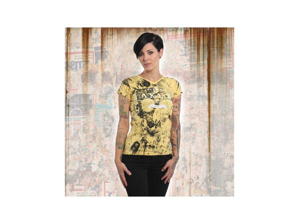 Yakuza FLOWER SKULL V NECK dámske tričko GSB 13122 banana cream