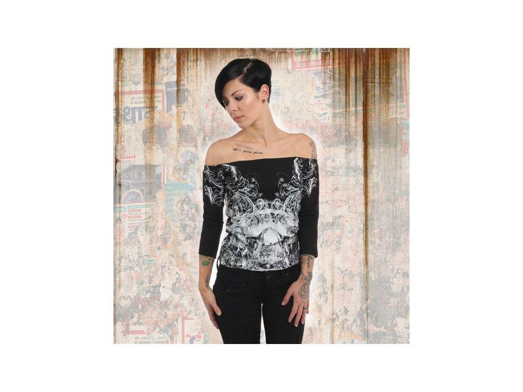 Yakuza ORNAMENTAL SKULL OFF SHOULDER dámske tričko s dlhým rukávom GLSB 13140black