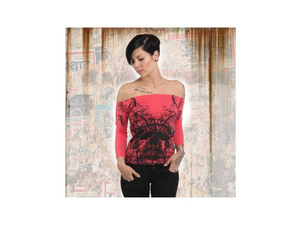 Yakuza ORNAMENTAL SKULL OFF SHOULDER dámske tričko s dlhým rukávom GLSB 13140geranium