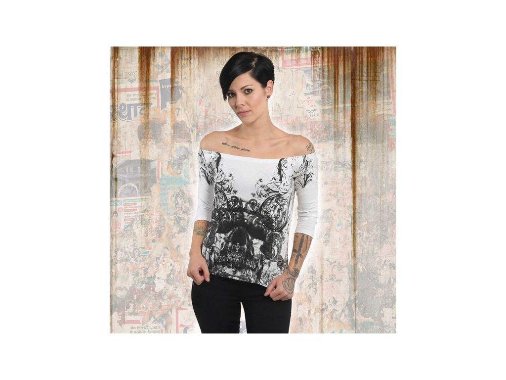 Yakuza ORNAMENTAL SKULL OFF SHOULDER dámske tričko s dlhým rukávom GLSB 13140 white