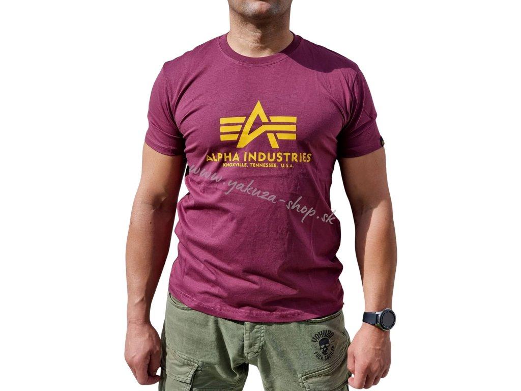 Alpha Industries Basic T-Shirt Burgundy tričko pánske