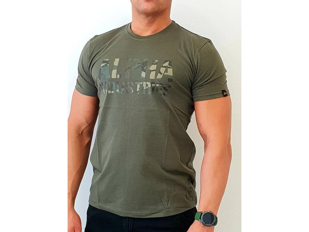 Alpha Industries Camo Print T Dark Olive tričko pánske