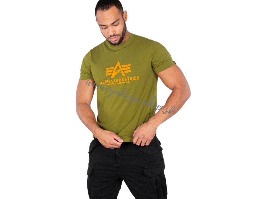 Alpha Industries Basic T Shirt Khaki Green tričko pánske
