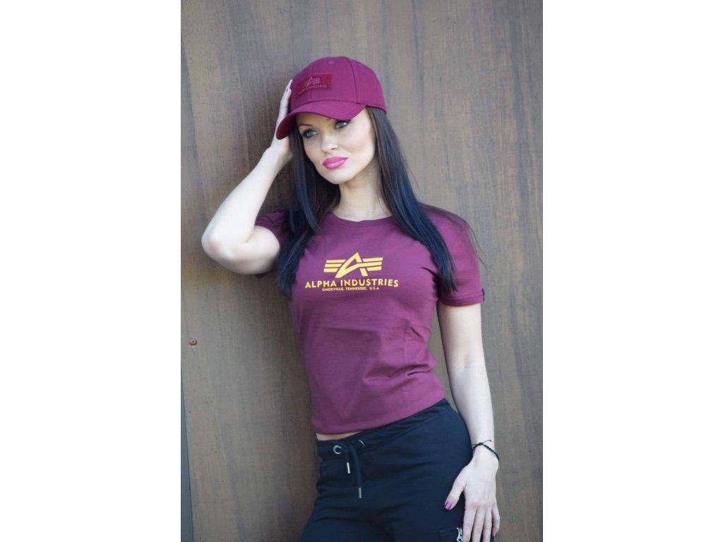 Alpha Industries New Basic T Wmn Burgundy dámske tričko