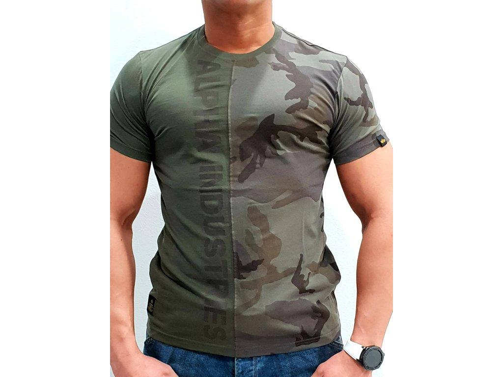 Alpha Industries Camo Half T tričko pánske dark olive camo