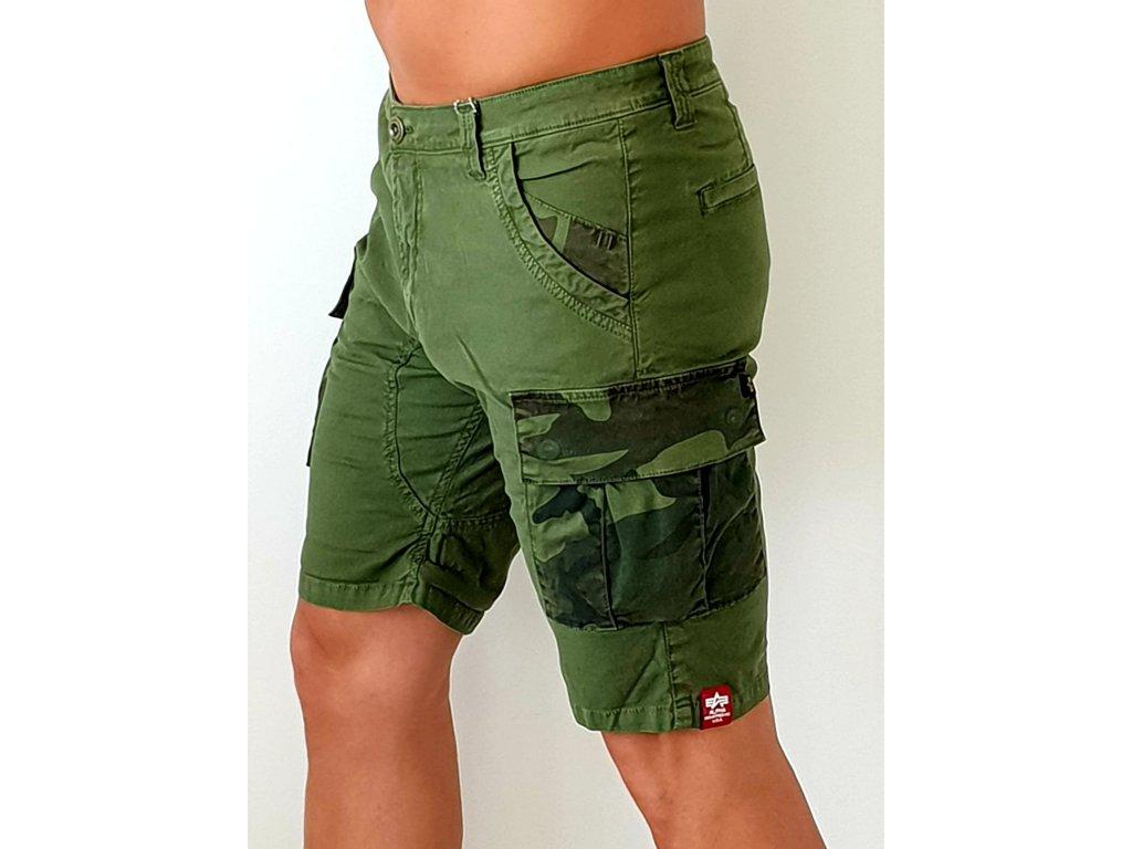 Alpha Industries Camo Pocket Short Dark Olive pánske šortky