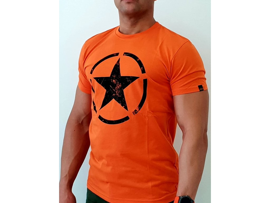 Alpha Industries Star T Flame Orange  tričko pánske