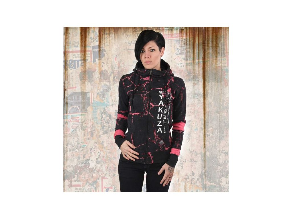 Yakuza MARBLE HIGH NECK dámska mikina na zips GHZB 13117 black