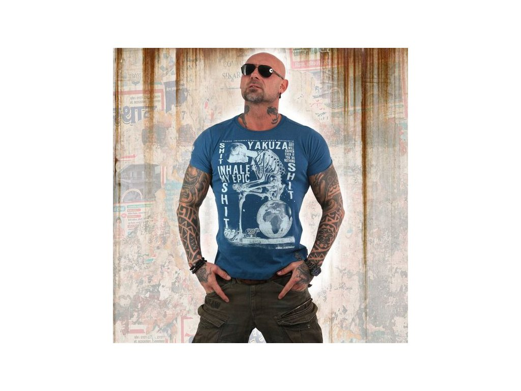 Yakuza INHALE tričko pánske TSB 13029 Mallard Blue