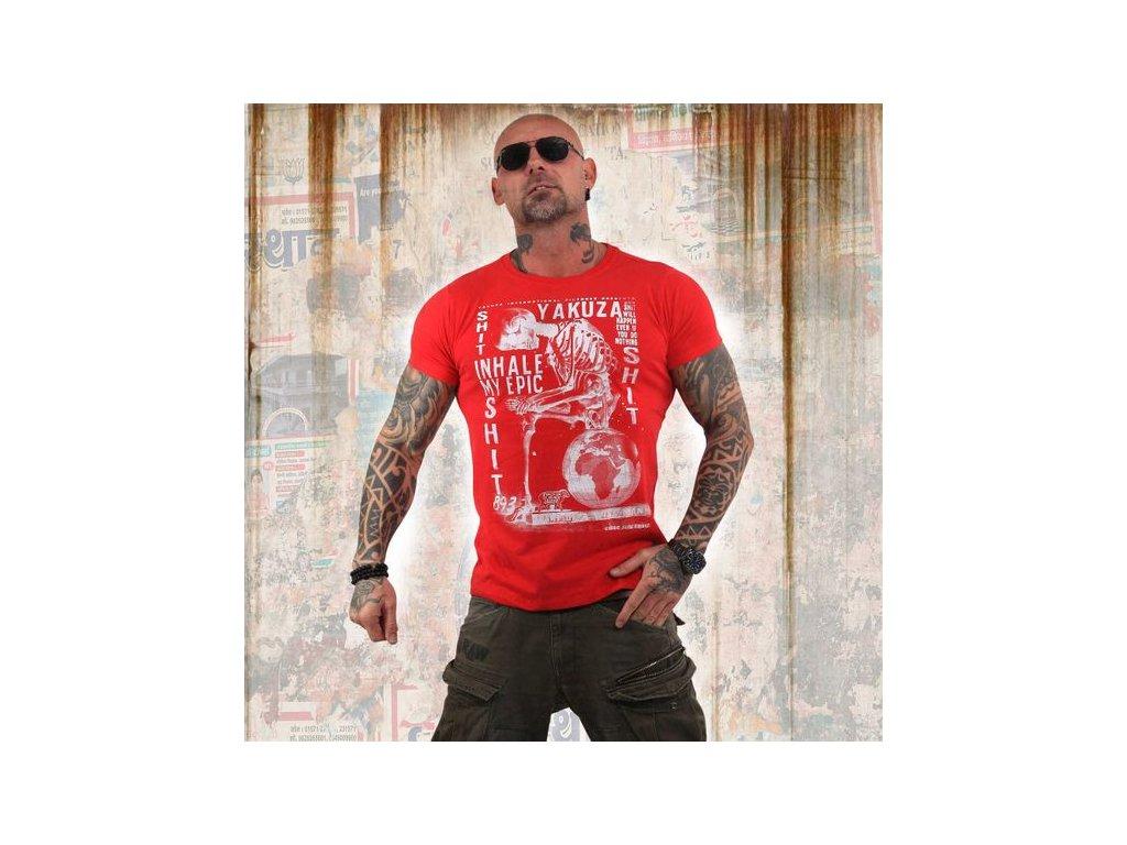Yakuza INHALE tričko pánske TSB 13029 Ribbon Red