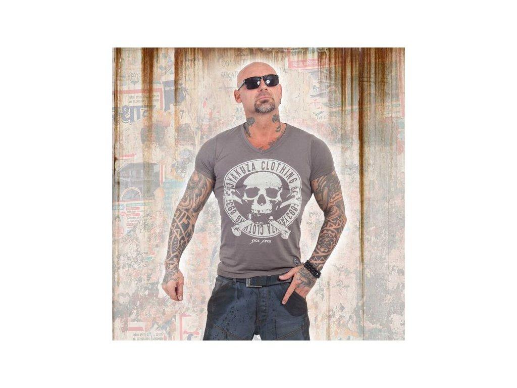 Yakuza BURNOUT DAILY JOLLY tričko pánske TSB 13037 dark gull grey